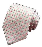 Secdtie Men's Polka Dot Silk Cravat Ties Jacquard Woven Casual Handmade Necktie