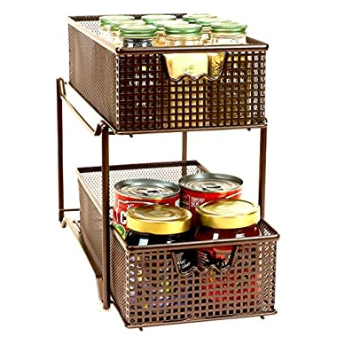DecoBros Two Tier Mesh Sliding Cabinet, Bronze (BK-017)