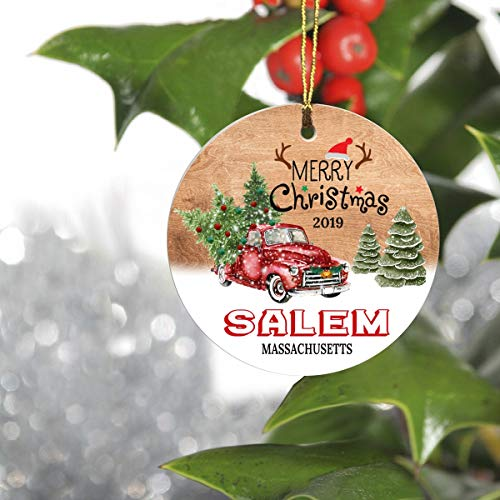 Merry Christmas Salem Massachusetts MA State 2019 - Home Decorations for Living Room, Ceramic Christmas Tree Ornaments 3 Inches - Hometown for Family, Friend