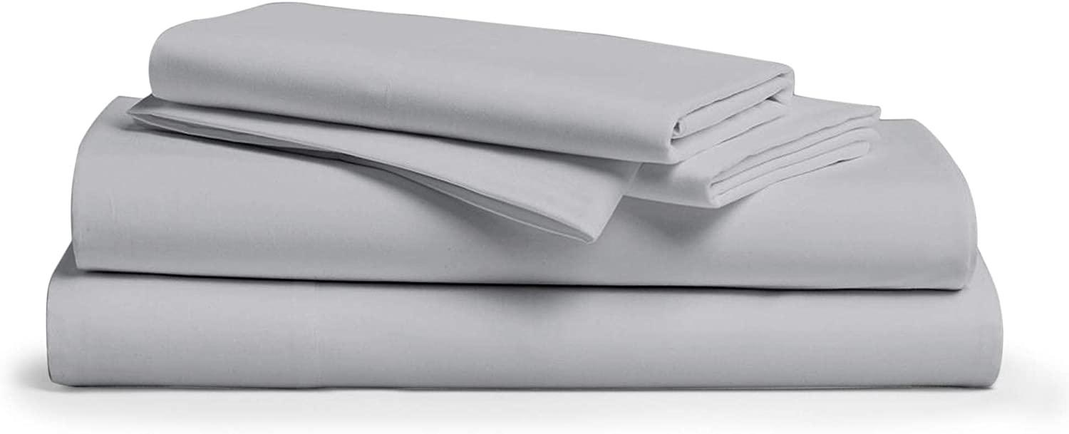 "800 Thread Count 100% Pure Egyptian Cotton – Sateen Weave Premium Bed Sheets, 4- Piece Silver Queen- Size Luxury Sheet Set, Fits mattresses Upto 18"" deep Pocket"