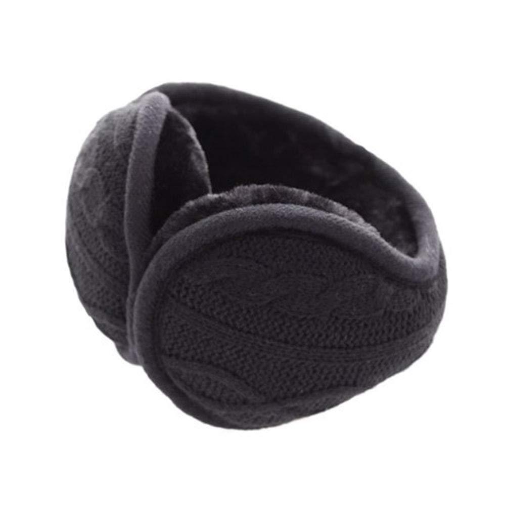 Unisex Foldable Ear Warmers Fleece Winter Knit Earmuffs for Men Women (Black)