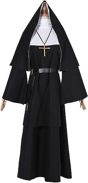 Disfraz de monja de mujer Pastor negro Cosplay Traje de pastor ...
