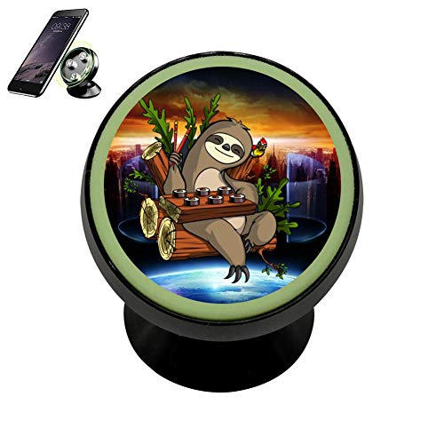 Gshrfg Lazy Sloth Eating Sushi 2018 Magnetic Cellphone Car Mount Holder Stand 360 Rotation Stand Metal with Luminous Function