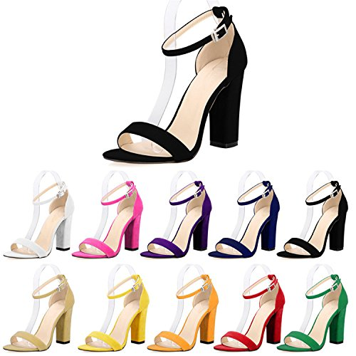 Ladies Kenavinca Ankle Women Thick High Pumps Straps Sexy Heel Open Suede Bridal Sandals Summer Red Newest Toe Heels Pumps AxAwr7nHqf