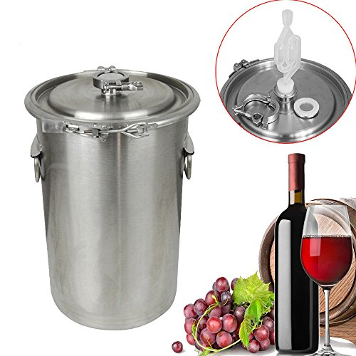 Zinnor 5 Gallon Brewing Kettle with Lid for Homebrewing Beer Making, 304 Stainless Steel Beer Wine Stock Pot Fermentation Container from Zinnor