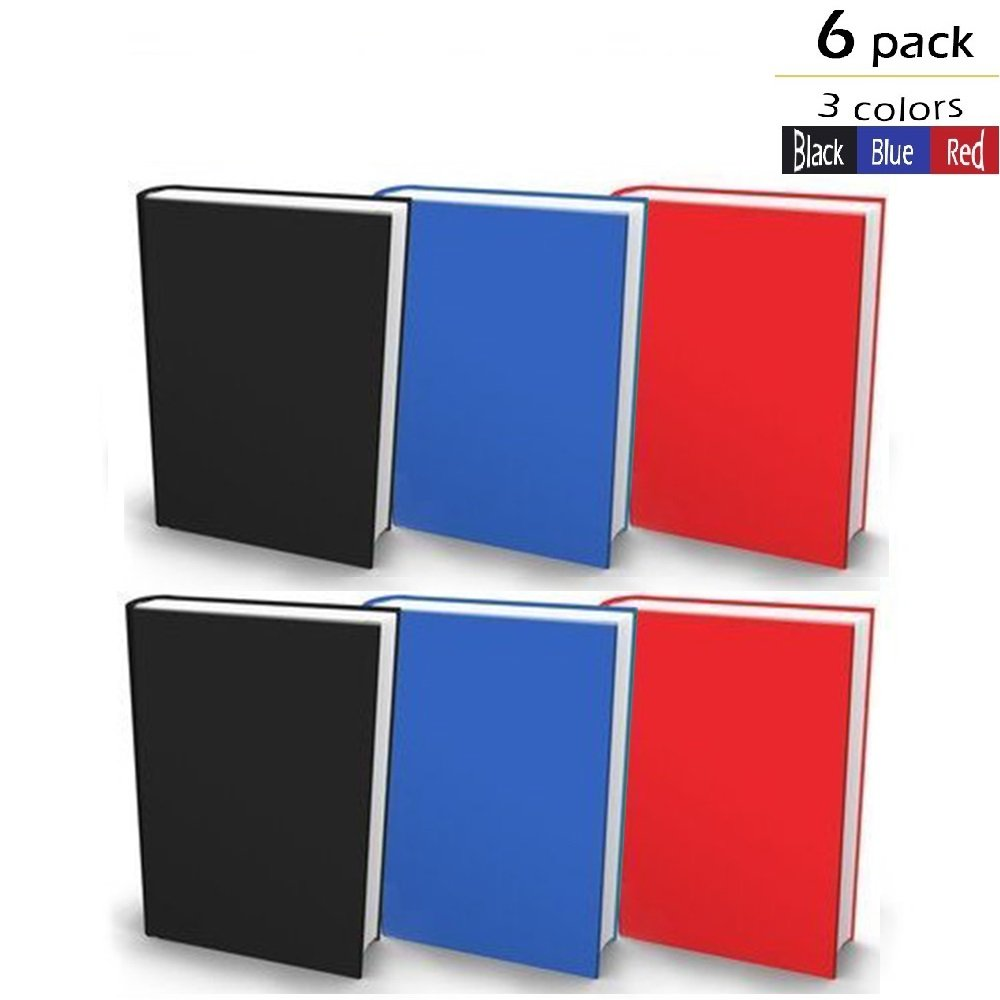 Book/Textbook/School Book Covers – 6 Frustration Free, Long Lasting Stretchable Fabric Jumbo Book Covers With 3 Post It Pads. Jumbo 9'' x 12''. Fit Textbooks. Perfect for School and Gifts.