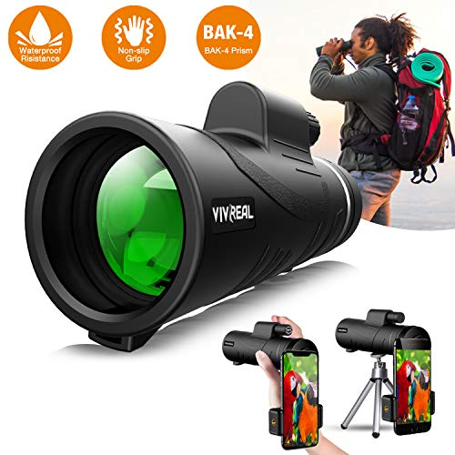 10x42 Monoculars Telescope| High Power HD Monocular with Smart-phone Holder & Tripod -Waterproof Compact Monocular with Durable FMC BAK4 Prism| Zoom Monocular for Bird Watching, Camping, Hiking, Match