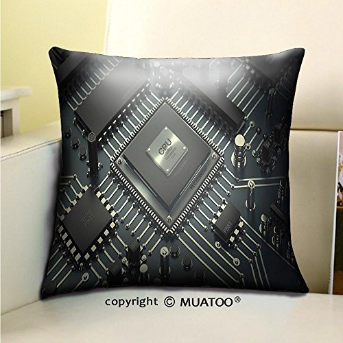 PleayeL Soft Canvas Throw Pillow Covers Cases for Couch Sofa -Central Computer Processors CPU Concept Technology Background high Resolution d Render Print 18x 18(45 x 45 cm)