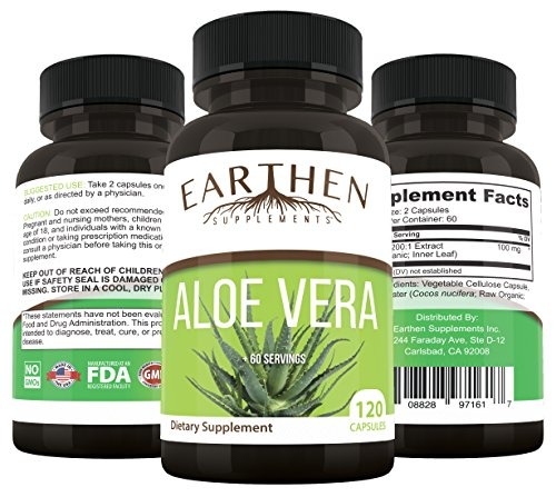 ORGANIC Aloe Vera Supplement 20,000mg- RAW All Natural NON-GMO 120 - Gel Aloe Capsules Vera