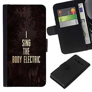 KLONGSHOP // Tirón de la caja Cartera de cuero con ranuras para tarjetas - Música eléctrica Oro Texto motivación - Samsung Galaxy A3 //