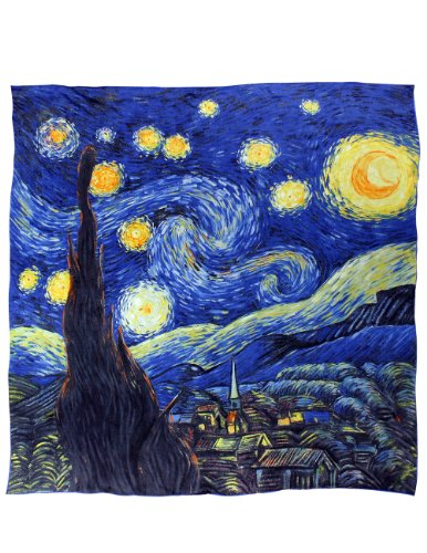 Dahlia Women's 100% Luxury Square Silk Scarf - Van Gogh