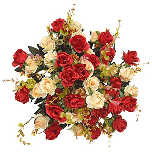 Moomass Artificial Flowers,2 Packs of Artificial Roses.24 Little Rose Silk Flowers. Plastic Flowers,Plants for Home Hotel Wedding Christmas Office Tables Decorations. Red (5 Colors in Total)