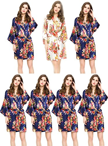7 Floral Satin Bridesmaids Robes Navy & White Wedding Bride by Endless Envy by Endless Envy
