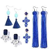 Othink Royal Blue Tassel Drop Earrings for Women