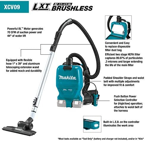 Makita XCV09Z 18V X2 LXT Lithium-Ion 36V Brushless Cordless 1 2 Gallon HEPA Filter Backpack Dry Vacuum, Tool Only