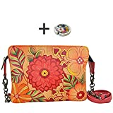 Anuschka Shoulder Handbag - Hand Painted Design on Real Leather - Free Purse Holder (Clutch Summer Bloom)