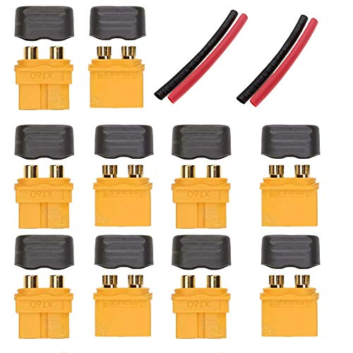 (Yiqigou 5 Pairs Amass XT60H Sheath Housing Male Female Connector Plug, Lithium Battery Discharging Terminal for Rc Lipo Battery RC Model and More)