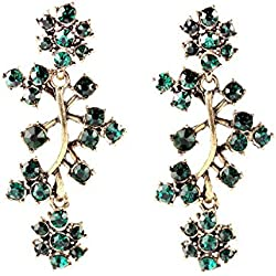 JD Million shop Tide All Match Clearly Sparkly BEarrings Crystal Branches Green Earrings Factory Wholesale