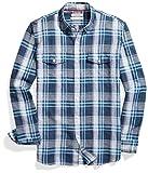 Goodthreads Men's Standard-Fit Long-Sleeve Linen and Cotton Blend Shirt, Bright Blue Plaid, Large