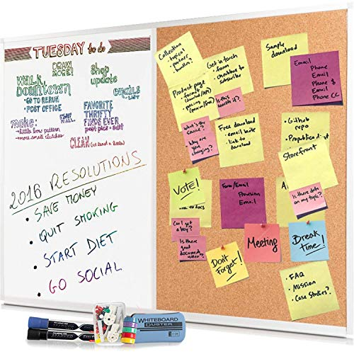 (Dry Erase Cork Board Combo Set - 28 x 20 Magnetic White Board and Cork Bulletin Combination Board, Use as Vision, Message Board, Memo Board - 2 Dry Erase Markers, Eraser, Magnets, Push Pins)
