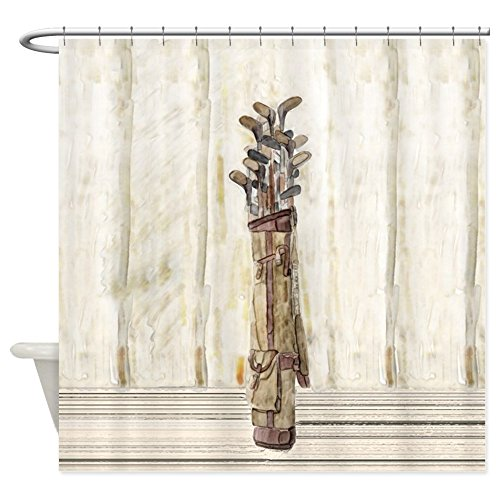 (CafePress - Antique Watercolor Golf Clubs - Decorative Fabric Shower Curtain (69