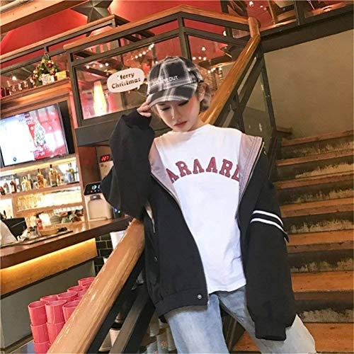 Coat Lunghe Relaxed Casual Incappucciato Ragazze Maniche Giubbino Eleganti Sportivo Outwear Primaverile Moda Cute Autunno Giacca Schwarz Cappuccio College Con Donna Chic vZwqHP10W