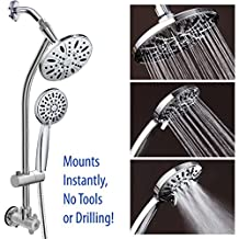 "All-Chrome 28"" Drill-Free Stainless Steel Slide Bar Combo with 7"" Rain Showerhead, 6-setting Hand Shower and Revolutionary Low-Reach 3-way Diverter For Easy Reach. Ultimate Dual Shower Head Spa System"