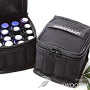 Essential Oils Roller Bottles Bag - Aromatherapy Essential Oil Carrying Cases - Holds 5ml, 10ml and 15ml 16 Bottles Zippers Portable Handle Bag Travel Essential Oil Bottles