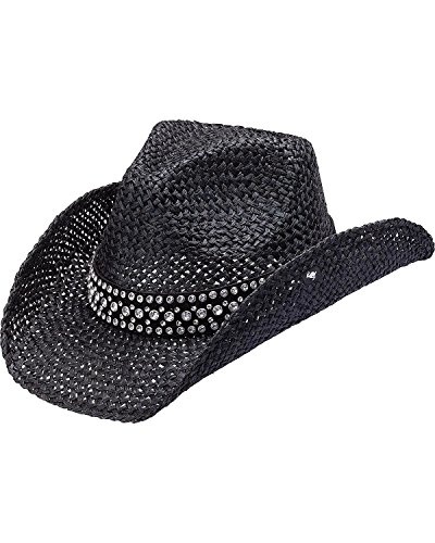 Peter Grimm Ltd Women's Weston Bling Band Straw Cowgirl Hat Black One (Sparkly Cowgirl Hats)
