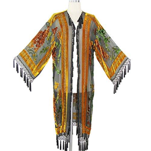 Aris A Women Vintage Floral Silk Burnout Velvet with tassel Duster (Vintage Handmade Cloth)