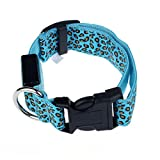 Pinleg Pets LED Dog Lights Leopard Flash Night Safety Waterproof Collar Makes Your Dog Visible Safe Seen 4 Colors Sizes (Blue, S)