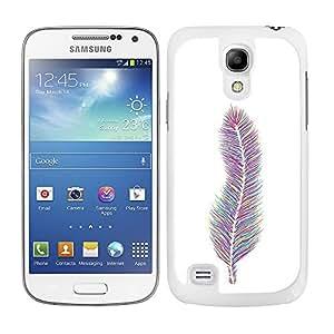 Funda carcasa para Samsung Galaxy S4 Mini diseño pluma estampado de colores modelo 2 borde blanco
