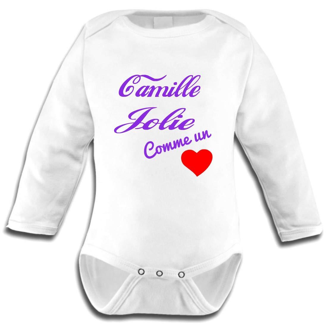 Les Lutins de Camille-Body bébé prénom, Jolie comme un coeur