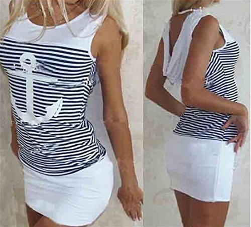 Weekendy Slim Dress Package Hip Dress Stripe Anchor Imprimer Robe Sexy Bateau Crochet Jupe White