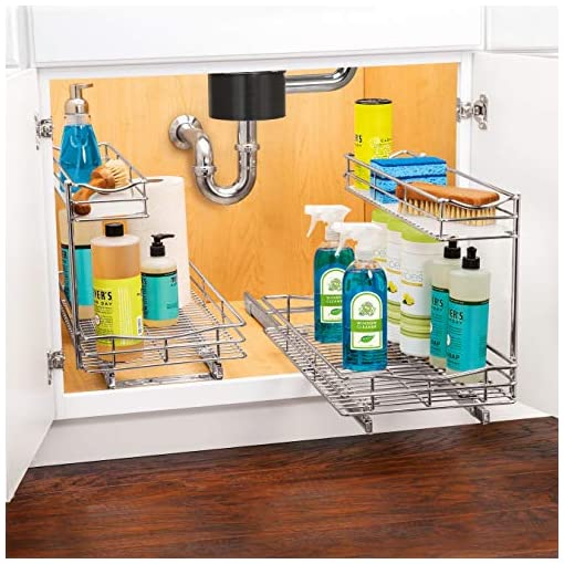 Kitchen Lynk Professional Under Sink Cabinet Organizer Pull Out Two Tier Sliding Shelf, 11.5w x 18d x 14h-Inch, Chrome… pull-out organizers