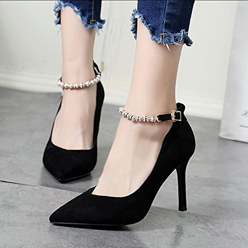 Fine Graphics Chain Shoes The Drilling Water Tip Heel High Black Shoes Light Tie KHSKX Is Single Stylish 37 With Slotted 8Cm Thin TXZBXxnPw0