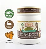Pride Of India - Herbal Henna & Indigo Mix Hair Color Powder w/ Gloves - Natural Brown, Half Pound (227 grams)