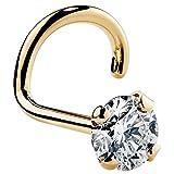 FreshTrends 18G 2.5mm 0.06 ct. tw Diamond 14K Yellow Gold Twist Screw Nose Ring I1