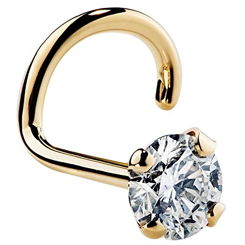FreshTrends 18G 2.5mm 0.06 ct. tw Diamond 14K Yellow Gold Twist Screw Nose Ring SI1