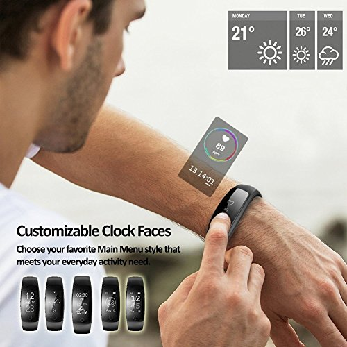 Fitness Tracker, Lintelek 107Plus Heart Rate Monitor Activity Tracker with Replacement Band, Stopwatch, Relax IP67 Waterproof Bluetooth Pedometer Wristband for iOS & Android Smartphone