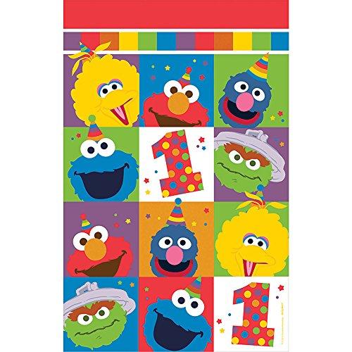 Amscan Sesame Street Elmo Turns One Plastic Table Cover, -