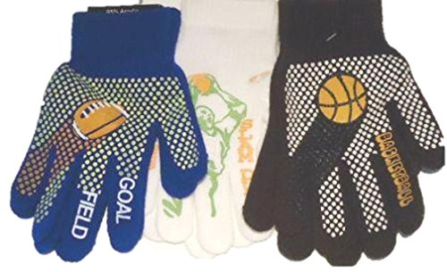 Three Pairs Prints Fleece Polyester with Microfiber Lined Very Warm Boys Gloves by Gita