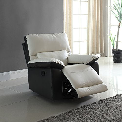 Modern Two Tone Bonded Leather Oversize Recliner Living Room Set (1 Seater)