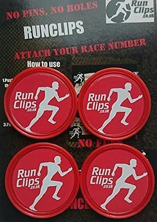 Run Clips Babero/Carrera Número Sujetadores, Rojo: Amazon.es: Deportes y aire libre