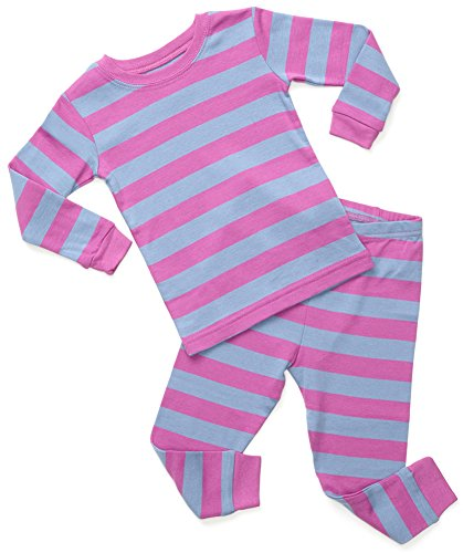 Leveret Striped 2 Piece Pajama Set 100% Cotton (4 Toddler, Purple & Denim)