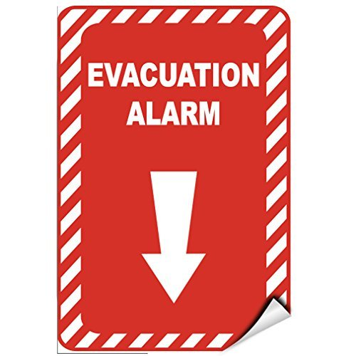 WenNuNa Wall Sticker Evacuation Alarm Security Sign Wall Decal Sticker 9x12 Inches -