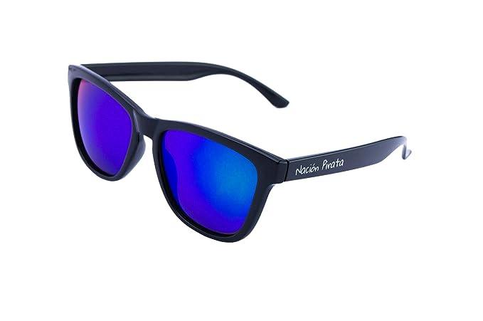 Nación Pirata - Gafas de Sol Policarbonato- Polarizadas, Efecto Espejo Verde- Hombre y