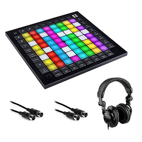 Novation Launchpad Pro MK3 MIDI Grid Instrument Controller with HPC-A30 Studio Headphones & 2x MIDI Cable Bundle