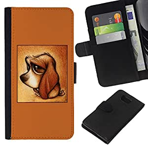 Planetar® Modelo colorido cuero carpeta tirón caso cubierta piel Holster Funda protección Samsung ALPHA G850 ( Cute Puppy Dog Dachshund Brown Sad )