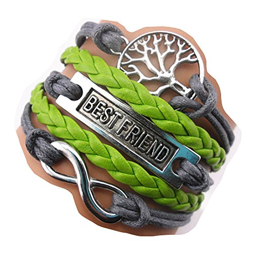 ACUNION™ Handmade Infinity Best Friend Tree for Life Charm Friendship Gift Leather Bracelet
